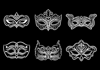 Masquerade Mask Icons Vector - бесплатный vector #438373