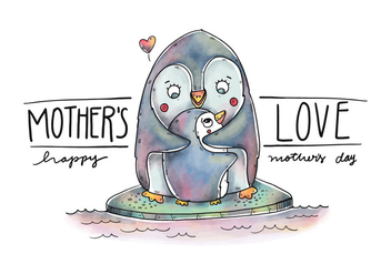 Cute Mom Penguin And Son Over Ice With Quote - бесплатный vector #438473