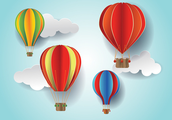 Paper Cut Colorful Hot Air Balloon and Cloud Vectors - Free vector #438503