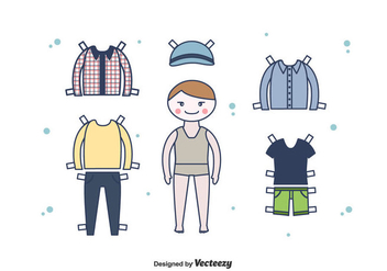 Dress Up Paper Doll Boy Vector - vector #438533 gratis