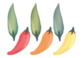 Vector Hand Drawn Peppers Pattern - Free vector #438563