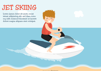 Happy Young Boy On Jet Ski In The Sea - vector #438603 gratis