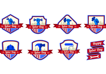 Vector Badges for Labor Day - vector gratuit #438613