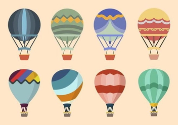 Flat Hot Air Balloon Vectors - Free vector #438673