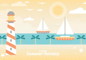 Free Summer Vacation Vector Landscape - Free vector #438753