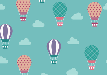 Cute Hot Air Balloon Pattern Vector - Free vector #438773