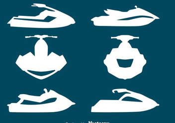Jet Ski Silgouette Collection Vectors - vector gratuit #439293