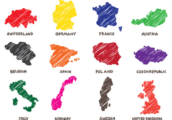 European Map Doodle - vector #439323 gratis