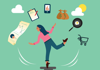 Multitasking Woman Vector - Free vector #439373