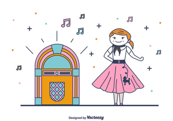 1950S Style Girl Vector - Free vector #439393
