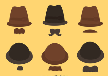 Hat And Mustache Style Collection Vector - Kostenloses vector #439403