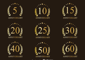 Golden Anniversary Badge Collection Vectors - vector #439423 gratis