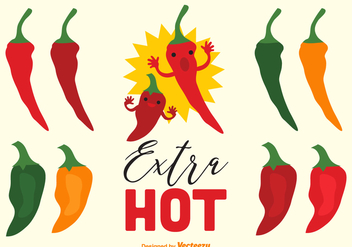 Extra Hot Chili Pepper And Habanero Vectors - Free vector #439433