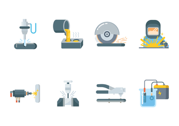 Metalworking Icon Set - vector #439453 gratis