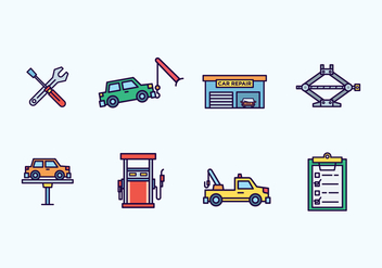 Car Repair Icons - vector #439463 gratis