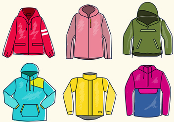 Colorful Winbreaker Jacket Sketch Vector Illustration - Kostenloses vector #439493