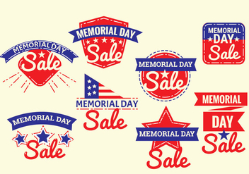 Set of Memorial Day Label Vectors with Vintage or Retro Style - vector gratuit #439523