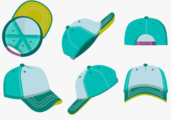 Blank Template Trucker Hat Color Vector Pack - бесплатный vector #439543