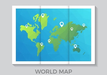 Folded World Map in Low Poly Style Vector - бесплатный vector #439643