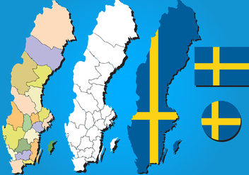 Sweden Map Vector Set - vector #439723 gratis