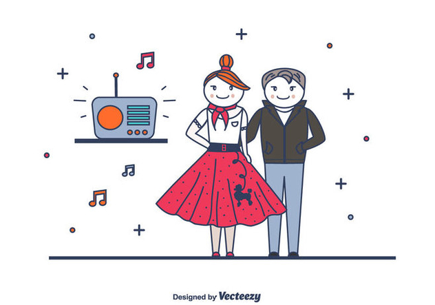 Retro Couple Vector - Free vector #439743