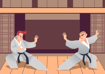Two Man Practicing Martial Arts In The Dojo - Free vector #439773