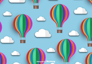 Hot Air Balloon Icon Beautiful Seamless Pattern - Free vector #439803