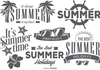 Retro Summer Labels - Kostenloses vector #439853