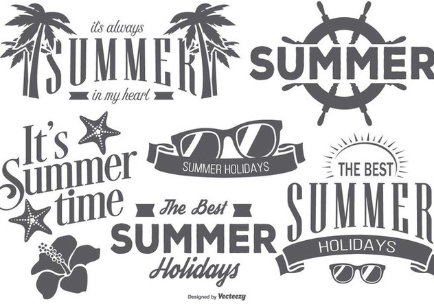Retro Summer Labels - vector gratuit #439853