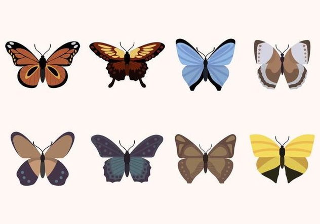 Flat Butterfly Vectors - Free vector #439873