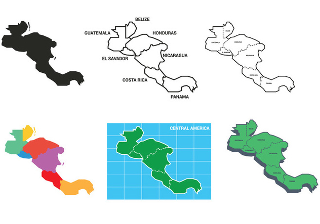Central america map vector set - Free vector #439893