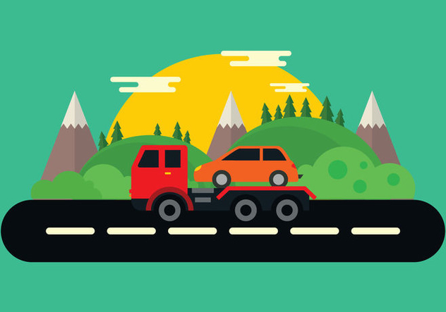 Tow Truck In The Mountains Vector - Free vector #439923