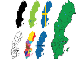 Sweden Map Vector Set - Kostenloses vector #439933