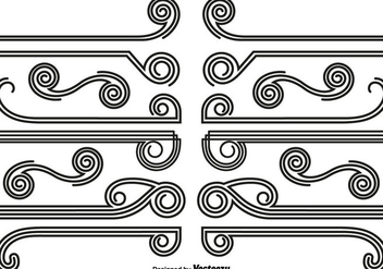 Vector Set Of Abstract Dividers And Borders - Kostenloses vector #440073