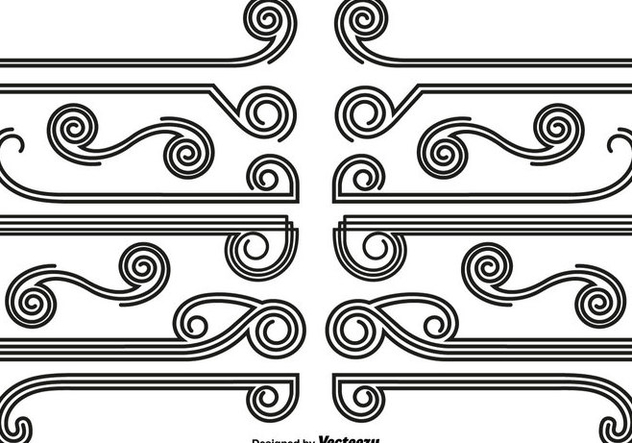 Vector Set Of Abstract Dividers And Borders - vector gratuit #440073