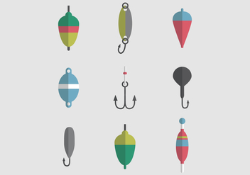 Colorful Set Of Fishing Tackles - Kostenloses vector #440113