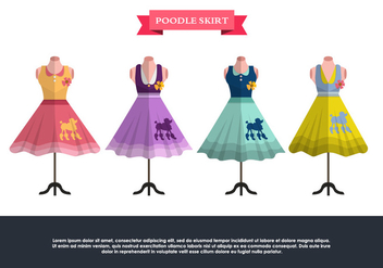 Retro Poodle Skirt Vector Set - Free vector #440123