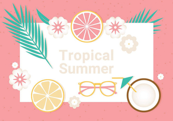 Free Tropical Summer Vector Illustration - бесплатный vector #440183