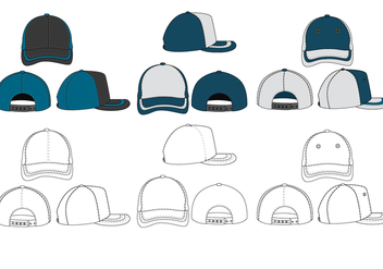 The Blank Trucker Hat Vector Pack - Free vector #440193