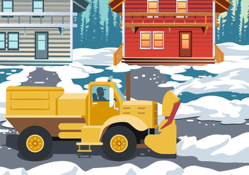 Snow Blower Truck Cleaning Action - Free vector #440293