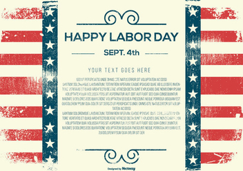 Grunge Happy Labor Day Template - vector gratuit #440323