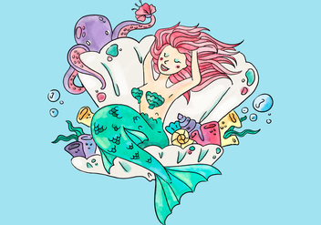 Cute Mermaid Inside A Ostyer And Flowers With Octopus - Free vector #440333