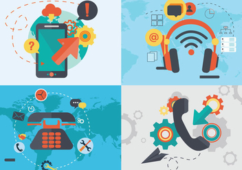 Internet Telephone Digital Communication Flat Vector - Free vector #440343