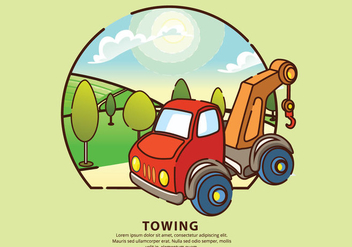 Towing City Mechanic Service Vector Illustration - Kostenloses vector #440453