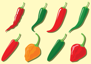 Chili Pepper Vector Icons - бесплатный vector #440463