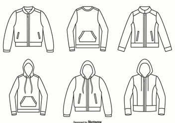 Jackets, Hoodies And Sweater Outline Vector Design - бесплатный vector #440473