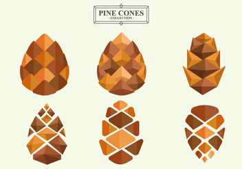 Pine Cones Flat Vector Collection - бесплатный vector #440483