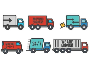 Moving Van Icon Set - vector #440523 gratis