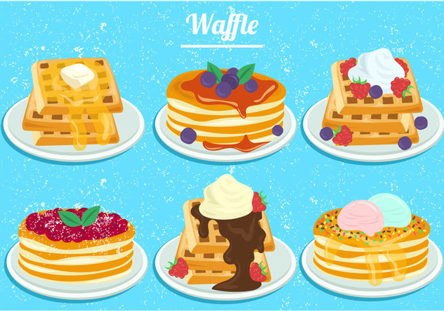 Strawberry And Blueberry Honey Waffles In Watercolor - Free vector #440583