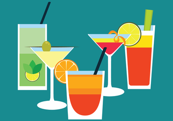 Cocktail Drinks Flat Vector - vector gratuit #440613